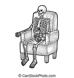 human skeleton is sitting in armchair sketch engraving vector illustration. T-shirt apparel print design. Scratch board imitation. Black and white hand drawn image.