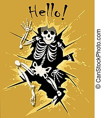 Human Skeleton Look Out of Wall Hole and wording Hello. Vector illustration.