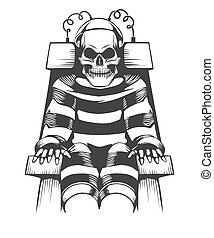 Human Skeleton sits on Electric Chair. Judgement and punishment concept in tattoo style. Vector illustration
