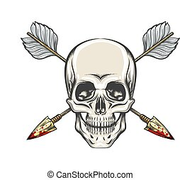 Human Skull and Arrows Tattoo. Vector Illustration