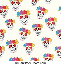 Human Skull and Flower Wreath Seamless Pattern. - Human...