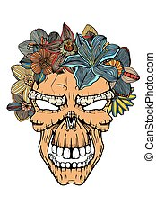 Human skull and flowers - Human terrible skull and flowers....