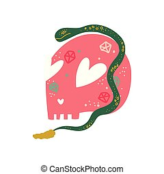 Human Skull and Snake, Magic Object, Witchcraft Attribute Vector Illustration