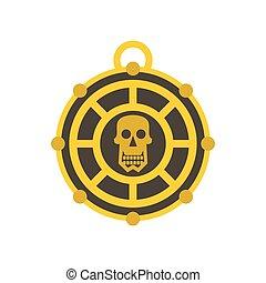 Human skull aztec medallion icon, flat style