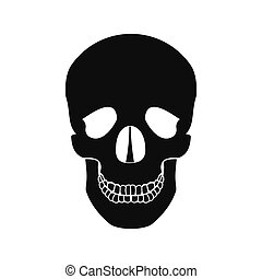 Human skull black icon - Human skull black simple icon...