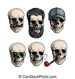 Human skull bones with sunglasses, beard, moustache, smoking...