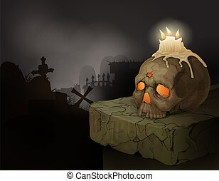 Human skull, candles and graveyard - Halloween background...