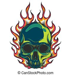 human skull colored with flames vector illustration
