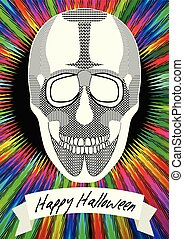Human skull drawing on Halloween flyer, Happy halloween ribbon inscription on black background with psychedelic rainbow rays