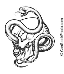 Human Skull Entwined By Snake Engraving Illustration