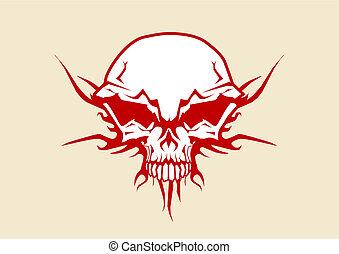 human skull - Vector illustration of human skull with tribal...