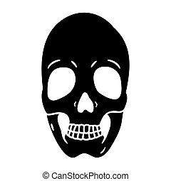 Human skull flat icon isolated on white background.
