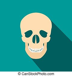 Human skull flat icon with shadow on blue background