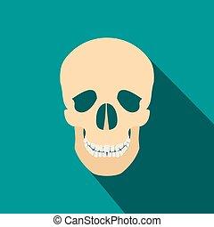 Human skull flat icon with shadow