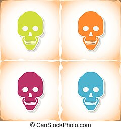 Human skull. Flat sticker with shadow on old paper