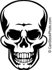 An illustration of a frightening human grim reaper skull