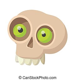 Human skull icon, cartoon style