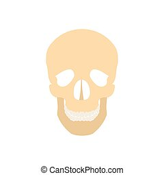 Human skull icon in flat style isolated on white background