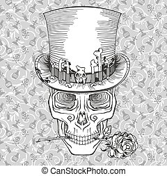 human skull in a top hat, baron samedi