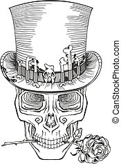human skull in a top hat, baron samedi