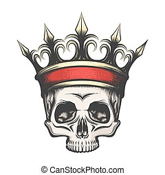 Human Skull in crown drawn in engraving style - Hand drawn...