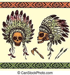 human skull in native American Indian chief headdress with tomahawks