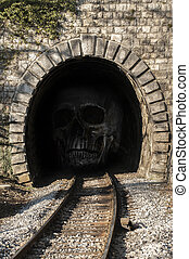 Human skull In the tunnel