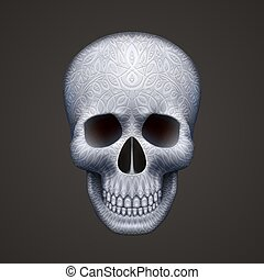 Human skull isolated on black with ornament