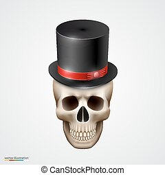 Human skull isolated with hat
