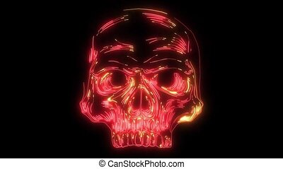 human skull laser animation video