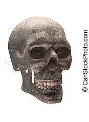 Human skull of shiny gemstones isolated against white background