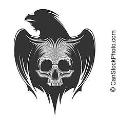 Human Skull On Raven Silhouette Tattoo