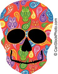 Human Skull Paisley Owl Floral Pattern Frontal View