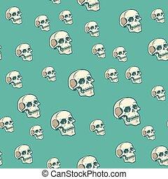 Human skull seamless pattern background