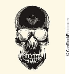 Human skull silhouette drawn in vintage engraving or woodcut style, front view. Symbol of death and horror. Monochrome vector illustration for label, postcard, banner, tattoo, logo, T-shirt print.