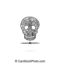Human skull silhouettes with fingerprint and barbed wire icon. Human skull and barbed wire tattoo logo design vector template.Skull front face logo.