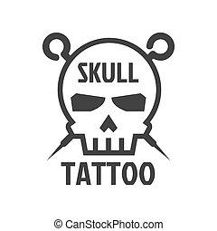 Human skull tattoo sign logotype isolated on white