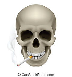 Human Skull with a cigarette. Illustration on white...