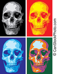 human skull - nice human skull in four versions as...
