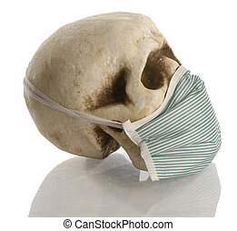 human skull wearing hospital mask - contagious disease...