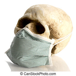 human skull wearing hospital mask - contagious disease concept