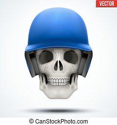 Human skull with baseball helmet