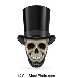 Human skull with beard and hat on