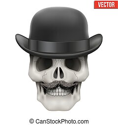 Human skull with black bowler hat