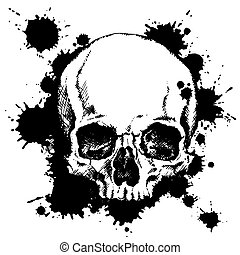 Human skull with black ink blots
