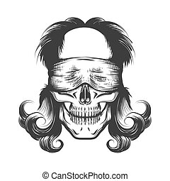 Human Skull with Blindfold Tattoo