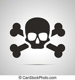 Human skull with bones, simple black icon