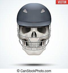 Human skull with cricket helmet