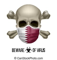 Human Skull with Crossbones and Surgical Mask in the Color ...