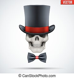 Human skull with cylinder hat and bow tie